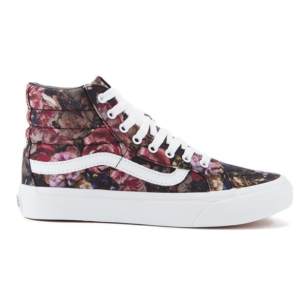 Vans Women's Sk8-Hi Floral Trainers - Moody Floral/Black/True White ($49) ❤ liked on Polyvore featuring shoes, sneakers, multi, white sneakers, white lace up sneakers, vans high tops, black white sneakers and black high top sneakers