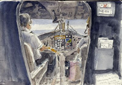 Cockpit, Tiny aeroplane from Newquay Airport to Scillies Isles of Scilly Travel. Watercolour, Kathy Lewis