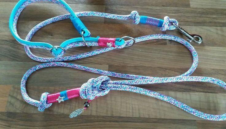 Ich hab ein Top chices Set im Angebot für modebewusste Hundemädels . Zugstopp Halsband 14 mm breit für Halsumfang von 33 -40 cm in top Farben . Die Leine ist 8 mm dick und 1.50m lang mit Handschlaufe. Ich kann das Halsband auch in Wunschlänge anfertigen. | eBay!