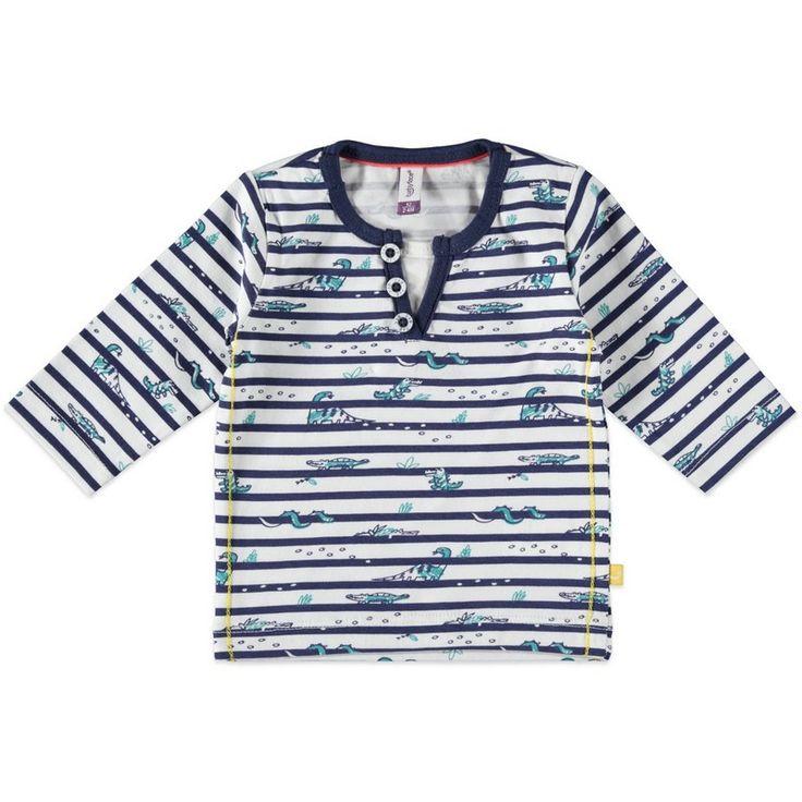 Jongens newborn gestreepte tshirt diertjes van het merk Babyface. Wit blauw gestreepte tshirt met lange mouwen, en tekeningen van diertjes. De shirt heeft een ronde hals (met uitzicht van een v-hals)