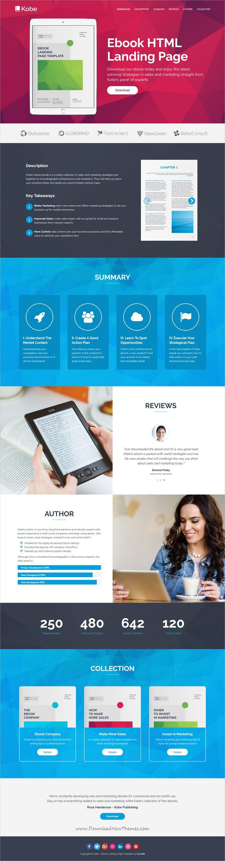 Kobe is clean and modern design responsive #HTML template for ebook #landingpage website with 6 homepage layouts with working download form download now..