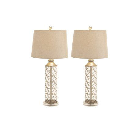 Decmode 30 inch traditional latticed metal and glass table lamps set of 2 gold