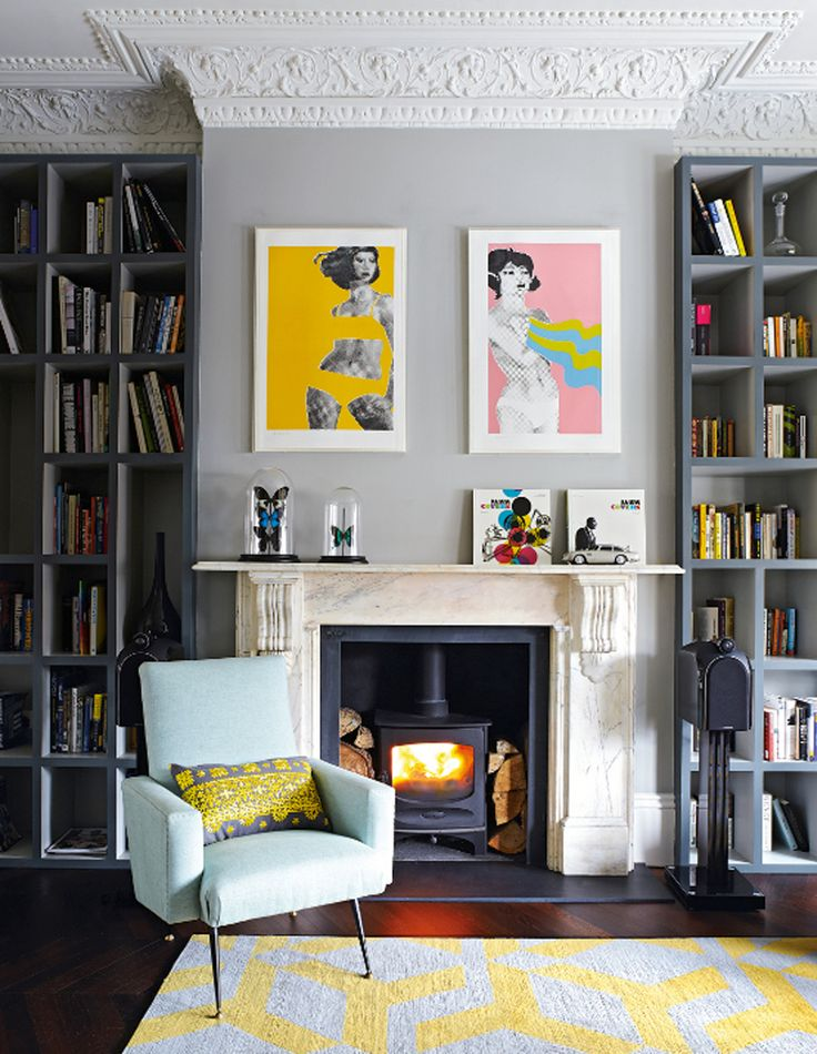 Gerald Laing's pop art prints really warm up this grey living room || A pop of something unexpected – FIRST SENSE