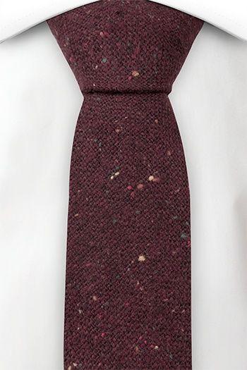 Slim necktie - Burgundy, yellow, orange & green specks