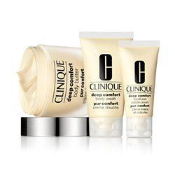 Clinique Constant Comfort for Body Skincare Set by Clinique. $42.44. This beautiful, silver gift-boxed set includes the following:. Deep Comfort Body Butter 6.7 oz. jar. Deep Comfort Hand and Cuticle Cream 1.4 oz. tube. Deep Comfort Body Wash 1.7 oz. tube. Treat your body to a comforting experience from head-to-toe. This Deep Comfort body moisture set includes body butter, body wash and hand & cuticle cream for an intense moisturizing treatment. Providing even the d...