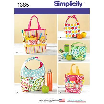 Simplicity Art Caddies And Lunch Bag Pattern 1385   Hobbycraft