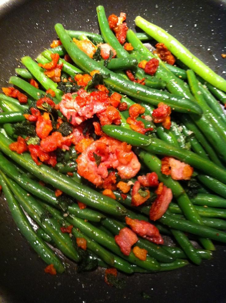 Saute green beans with pancetta