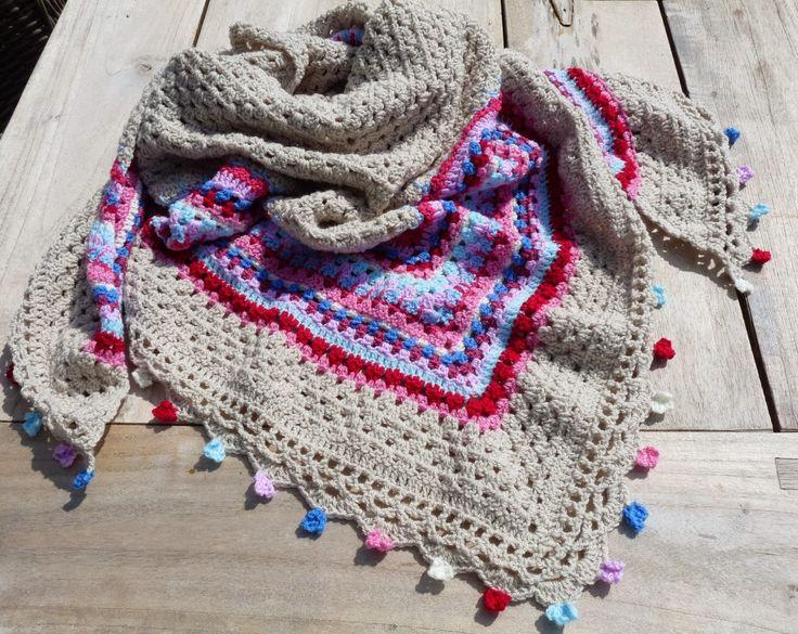 Sunflowerjewels blog: Gehaakte omslagdoek 'Nordic shawl': klaar!  Mooie aangepaste rand