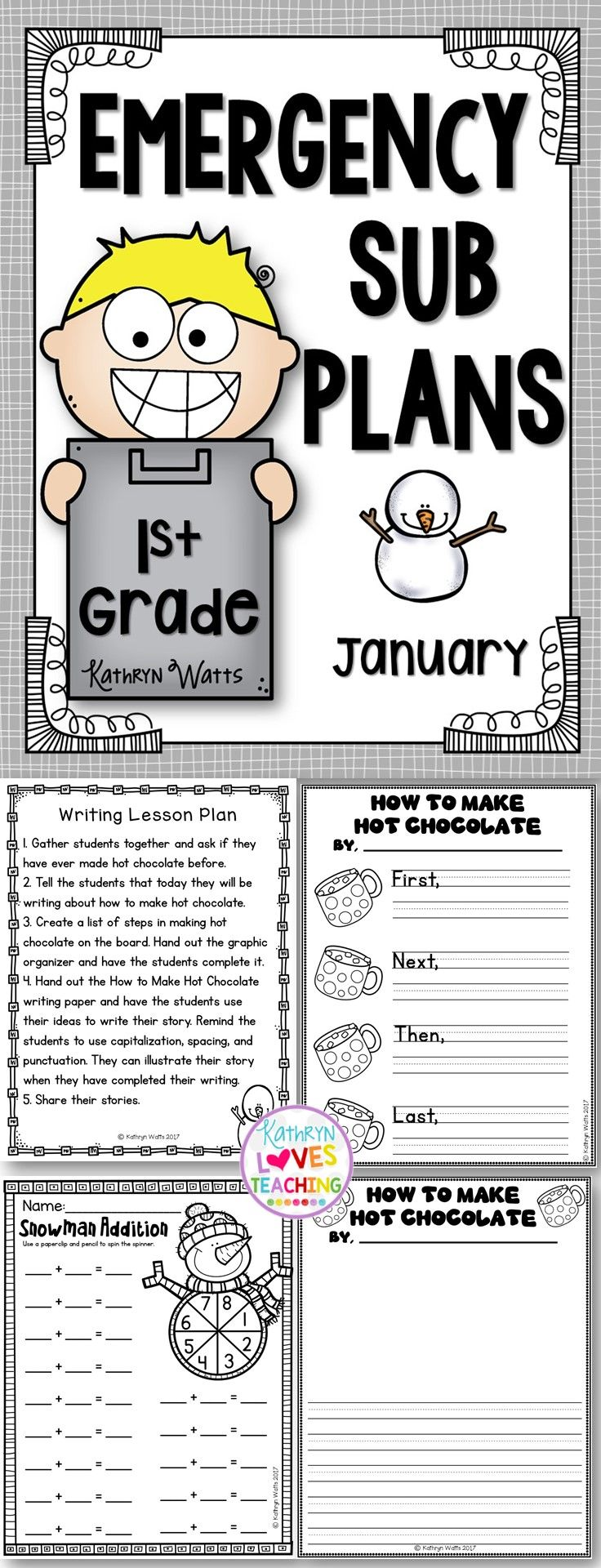 1st Grade Emergency Sub Plans January