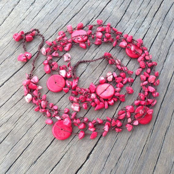 Long Burgundy Red Natural Coral Necklace by PiscesAndFishes, $43.00