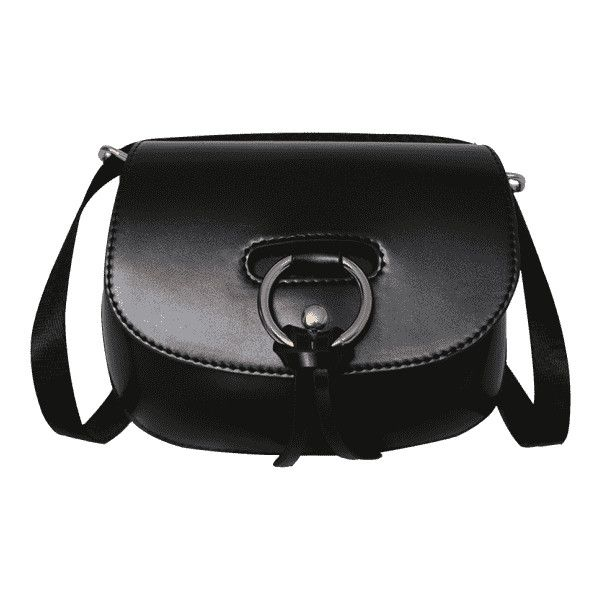 Ring Faux Leather Rivet Crossbody Bag Black ($19) ❤ liked on Polyvore featuring bags, handbags, shoulder bags, zaful, cross-body handbag, cross body, faux leather handbags, vegan purses and crossbody purse