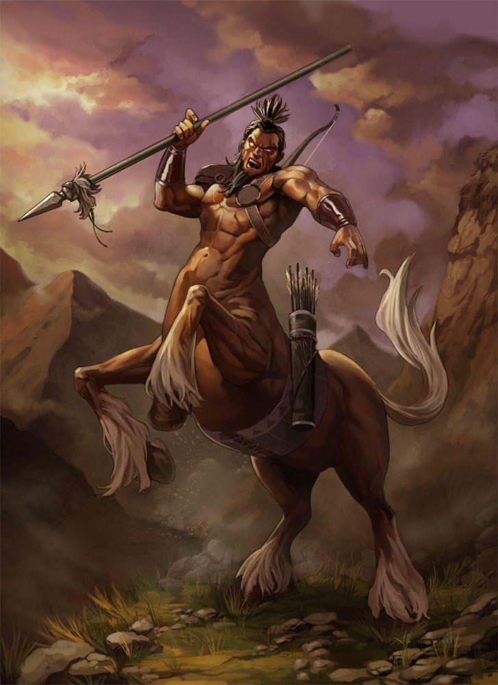 Centauro: El centauro es un ser con cuerpo de caballo y el torso, brazos y cabeza de hombre.Habita en equilibrio con la naturaleza, así que sólo caza lo que necesita para vivir y, si tala un árbol, planta otro. Es habitual encontrarlos en prados, claros y bosques de hoja caduca. Son muy sociables con otras especies del bosque.Los centauros son conocidos por sus habilidades con la lanza y con el arco, aunque también pueden usar garrotes y escudos a la hora de la lucha.