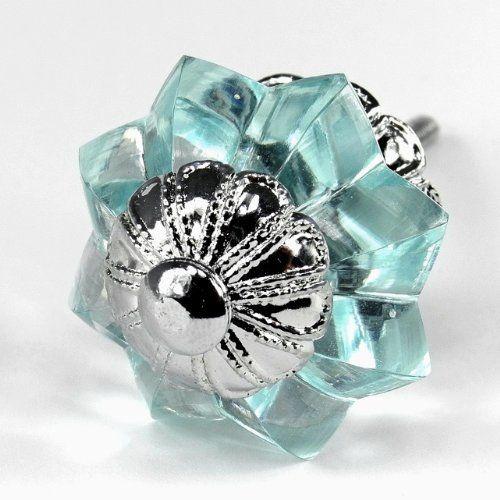 Arctic Blue Glass Melon Cabinet Knobs Drawer Pulls Handles Hardware 6pc K131FF