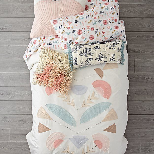Shop Desert Flora Embroidered Twin Duvet Cover.  This embroidered duvet cover features a desert-inspired design with a splendid array of appliqued plant life and playful hues.