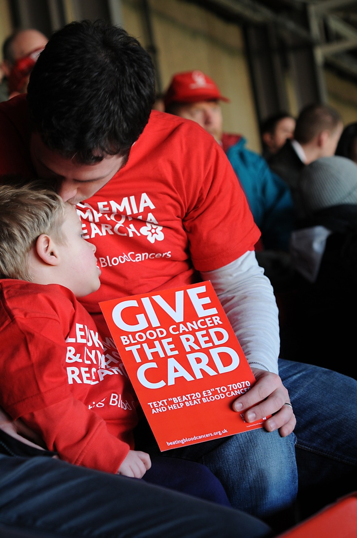 Good for us: intimate moment captured - important message, our work enables more families to spend time together like this. Good branding, clear, current logo.   Good in general: High quality image, bright colours.   Improvements: Image does seem quite dark, can't see as much of the subject's face as we could.   Photographer: David Spink, Give Blood Cancer the Red Card 2012