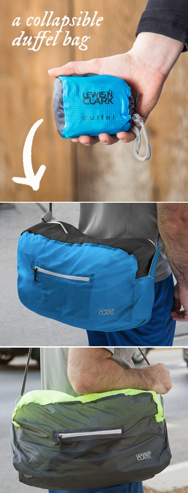 Handy! This duffel folds up small and weighs almost nothing, but is still tough enough for whatever you're toting.