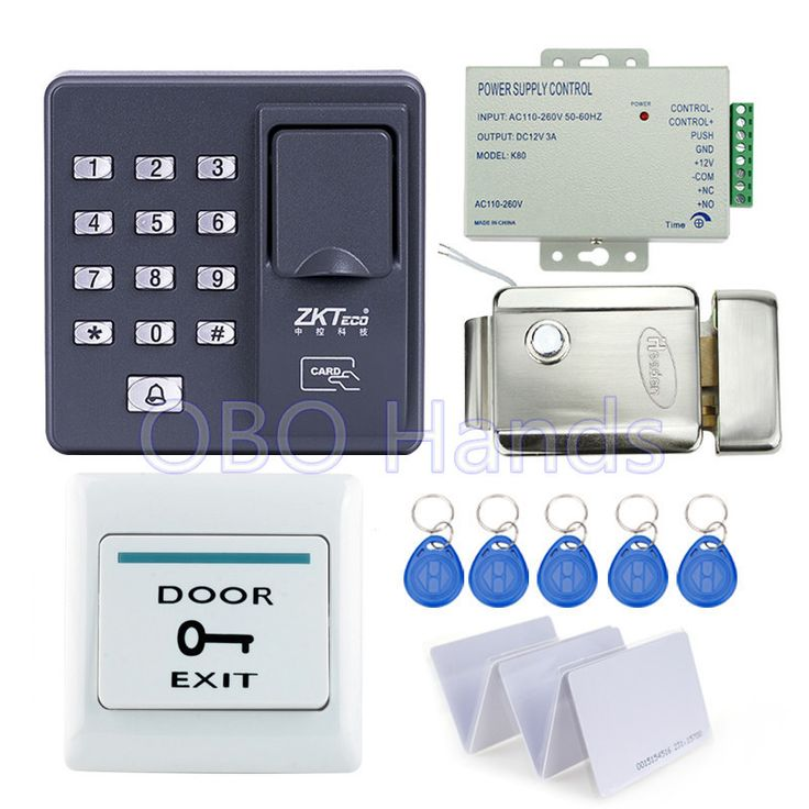 RFID reader finger scanner biometric fingerprint access control X6+electronic control lock+power supply+exit button+key cards
