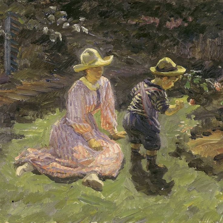 150 years today! Johannes Wilhjelm (1868-1938) is one of the lesser known Skagen painters and from the same generation of artists as Einar Hein. This is Wilhjelm's The artists children in the garden at the house in Skagen  1916.  Next year will  amongst other good things  bring an extensive retrospective exhibition of Wilhjelms works made possible together with our good friends at @fuglsangkunstmuseum and @ribe_kunstmuseum #johanneswilhjelm
