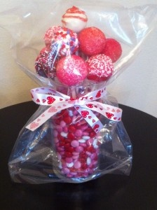 Valentine's Day Special - 12 Cake Pop and Candy Arrangement - $30   http://sandjtastycreations.com/valentines-day-specials/