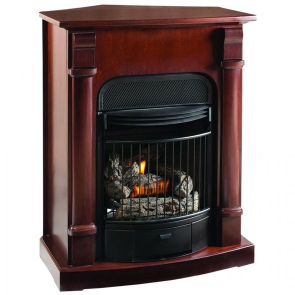 ProCom Compact Vent Free Gas Fireplace - Dual Use Surround - Thermostat Control - Natural Gas or Propane