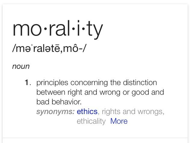 a definition of morality 09092014 there is certainly a connection between morality (or morals) and ethics dictionary definitions of one will usually reference the other however, an.
