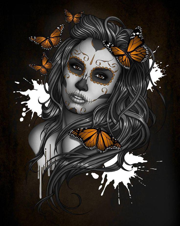 Sugar skull Girl finished. Wanted to try my own take on on a #candyskullgirl #sugarskull #candyskull #girl #skull #illustration #tattoo #design #tattooart #artwork #butterflies #ink #drawing #photoshop #digitalart #wacom #cintiq #art #design #tattoodesign #binked #wacom #photoshop