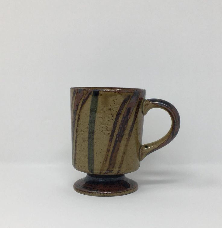 Excited to share the latest addition to my #etsy shop: Vintage Striped Stoneware Mug Brown Green Mug Manly Mug Gift For Him Vintage Coffee Mug #fathersday #vintagestripedmug #stonewaremug #stripedstoneware #ceramic #shootthepigeons