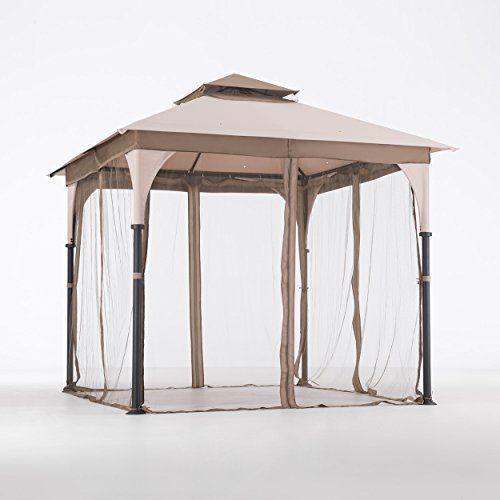 8 x 8 gazebo tent steel aluminum frame outdoor shade netting for patio set