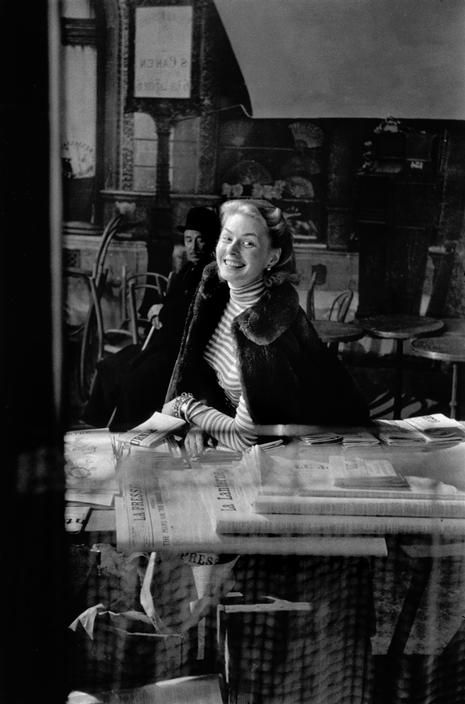 """FRANCE. Boulogne-Billancourt studios. Swedish actress Ingrid BERGMAN during the filming of """"Elena and Her Men"""" (""""Elena et les hommes"""") by French director Jean RENOIR. 1956."""