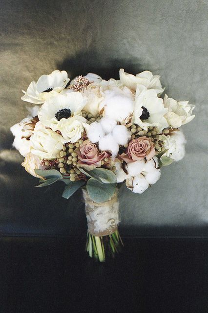 Winter bouquet. Cotton! Ah! Wonderful texture choice.
