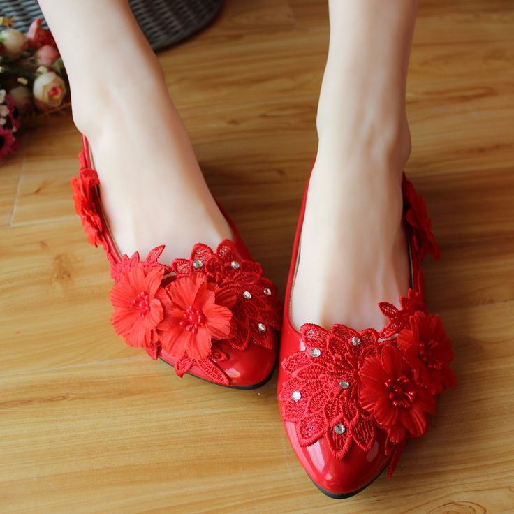 41.00$  Buy now - http://vidmo.justgood.pw/vig/item.php?t=vrt44o18489 - Red Flower Bridesmaids Shoes,Red Prom Shoes,Red Rhinestone Bridal Shoes M 41.00$