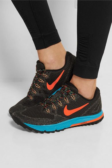 Turquoise and orange rubber sole measures approximately 30mm/ 1 inch Black mesh, multicolored rubber Lace-up front Designer color: Black/ Hyper Orange/ Blue Lagoon