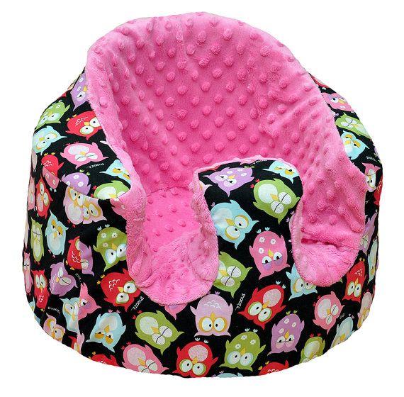 Bumbo seat cover  Sleepy Owl & Pink Minky Dot by SunnuBunnu,