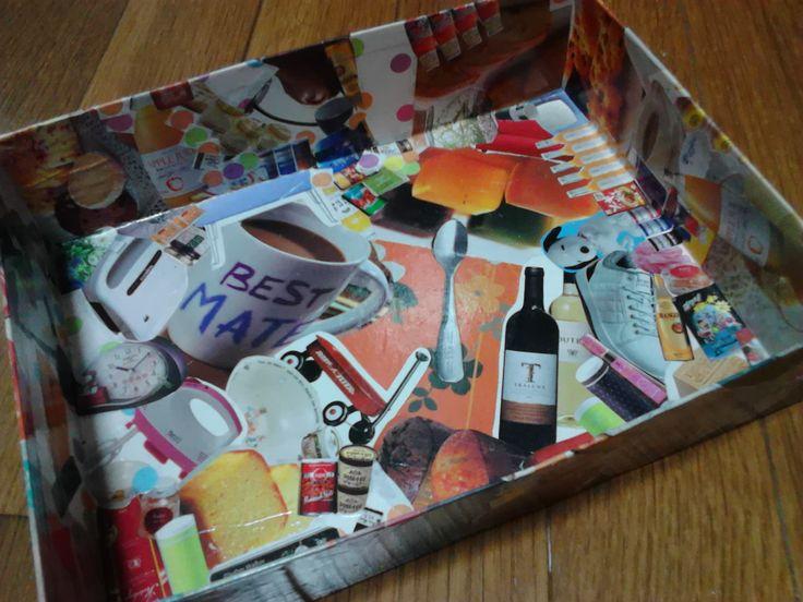 空き箱に雑誌の切り抜きをdecoupage