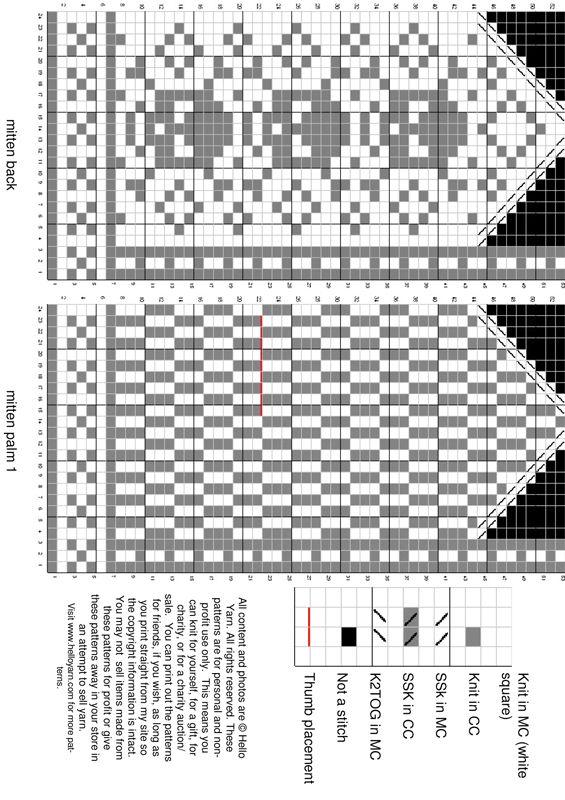 Схемы узоров для варежек