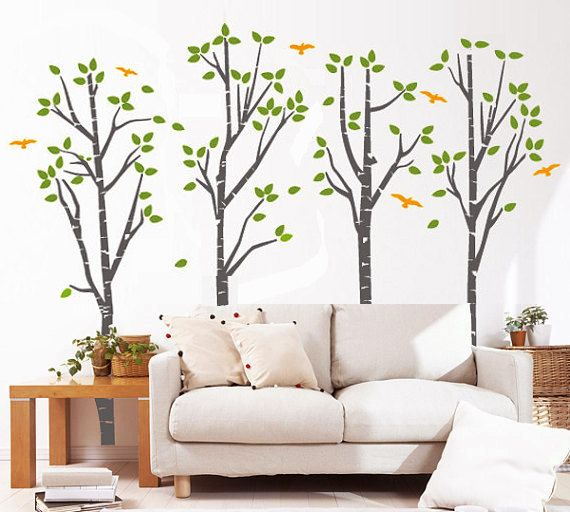 Tree Wall Decal Nature Birch Forest Vinyl Wall Mural By PurpleWall, $118.00