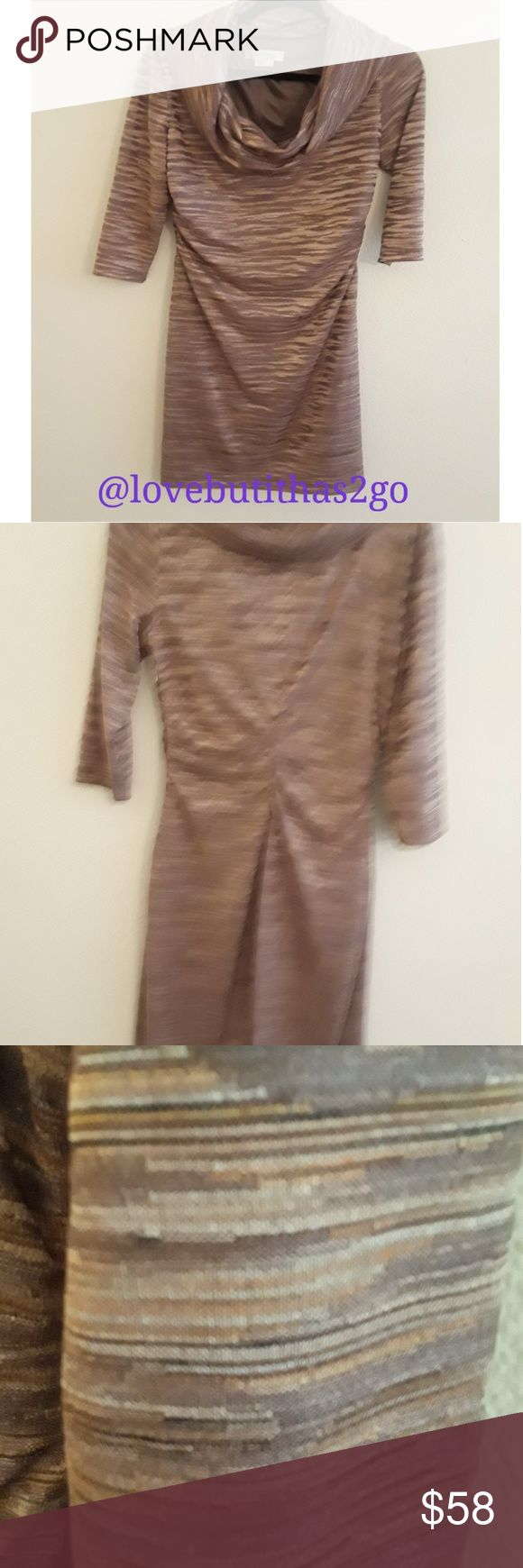 Nwot Kay Unger dress tunic ruching Gorgeous Kay Unger body of dress lined  Pet smoke free home  No rips, snags or tears CLEAN Zipper on side, ruching on each side  Bust measurements approximately 17 inches  Sleeve length approximately 20 inches  Length of dress approximately 38 inches Kay Unger Dresses Midi