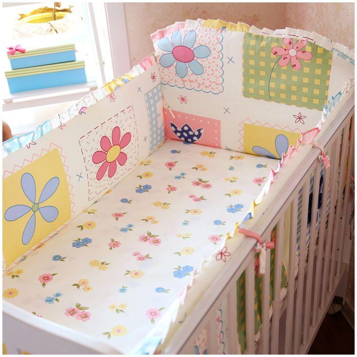 Promotion! 6PCS 100% cotton crib baby bedding sets, bed linen crib set (bumper+sheet+pillow cover)