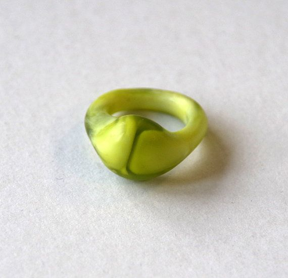 Organic swirl cast resin ring  Green and white by LordandPeer