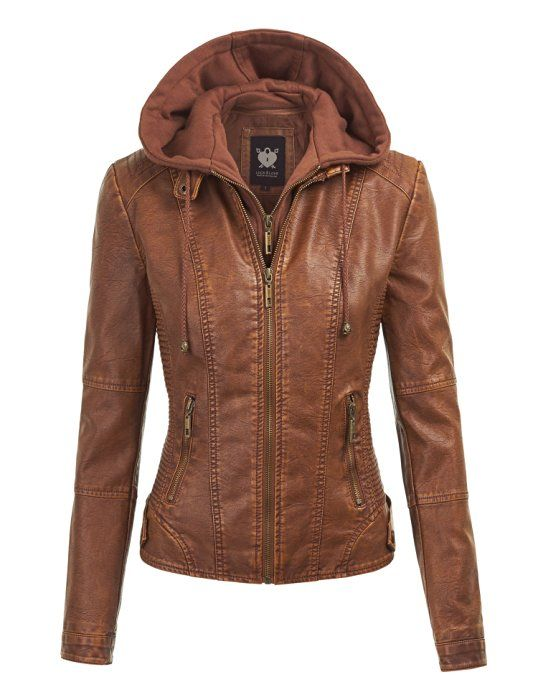 LL WJC1044 Womens Faux Leather Quilted Motorcycle Jacket with Hoodie XS CAMEL