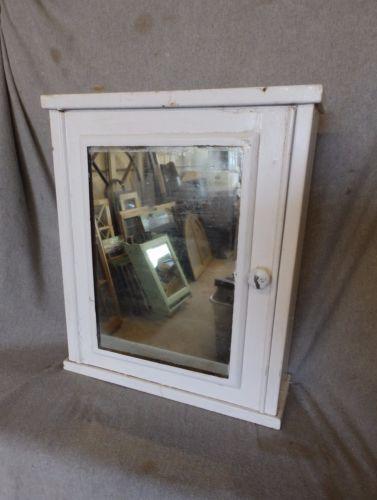 Vtg-Industrial-Metal-Surface-Mount-Old-Medicine-Cabinet-Mirror-Factory-219-17P