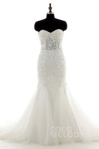 [ USD$ 349 ] Trumpet-Mermaid Sweetheart Top Lace Up-Corset Wedding Dress LD3958