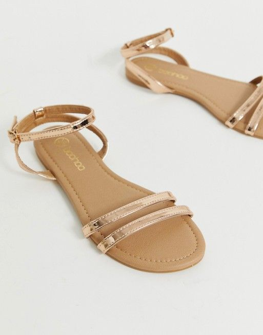 9f191d99b3a9 Boohoo strappy flat sandals with ankle strap in rose gold