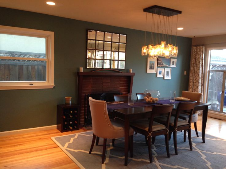 Teal Accent Wall Dining Room