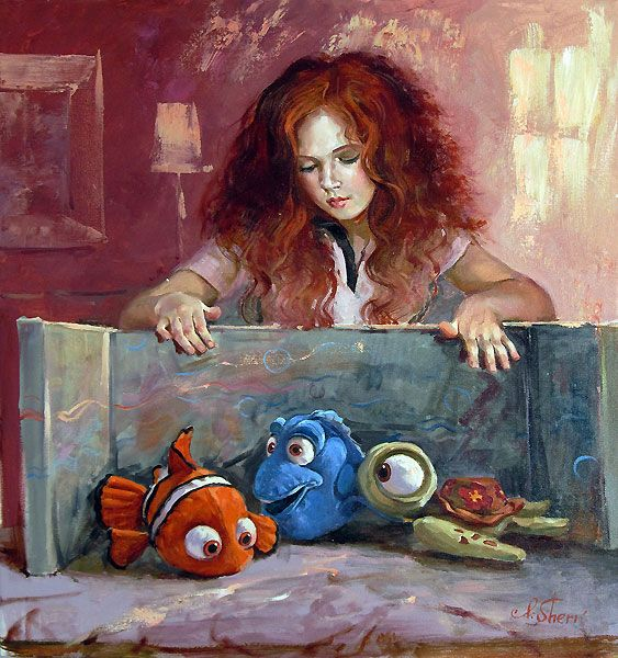Finding Nemo - My New Little Friends - Dory - Squirt - Original - Irene Sheri - World-Wide-Art.com