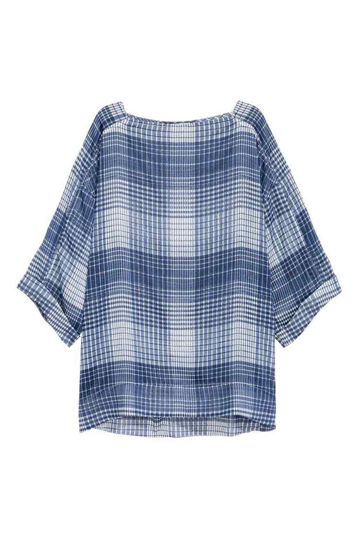 Geniş Bluz - Koyu mavi/Kareli - Ladies | H&M TR
