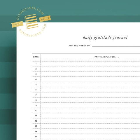 Gratitude Journal by Day Designer | We believe that gratitude is the birthplace of joy. This printable offers a place to practice the daily habit of gratitude! Offered FREE for a limited time only.