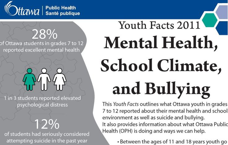 Ottawa Public Health  |  Youth Facts  |  Mental health  |  School Climate and Bullying.