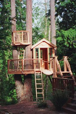 TreeHouse Workshop - View kids treehouses and tree forts, including play equipment like rope bridges, cargo nets, ziplines, fire poles, climbing walls