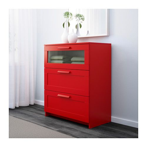 BRIMNES 3-drawer chest - red/frosted glass - IKEA